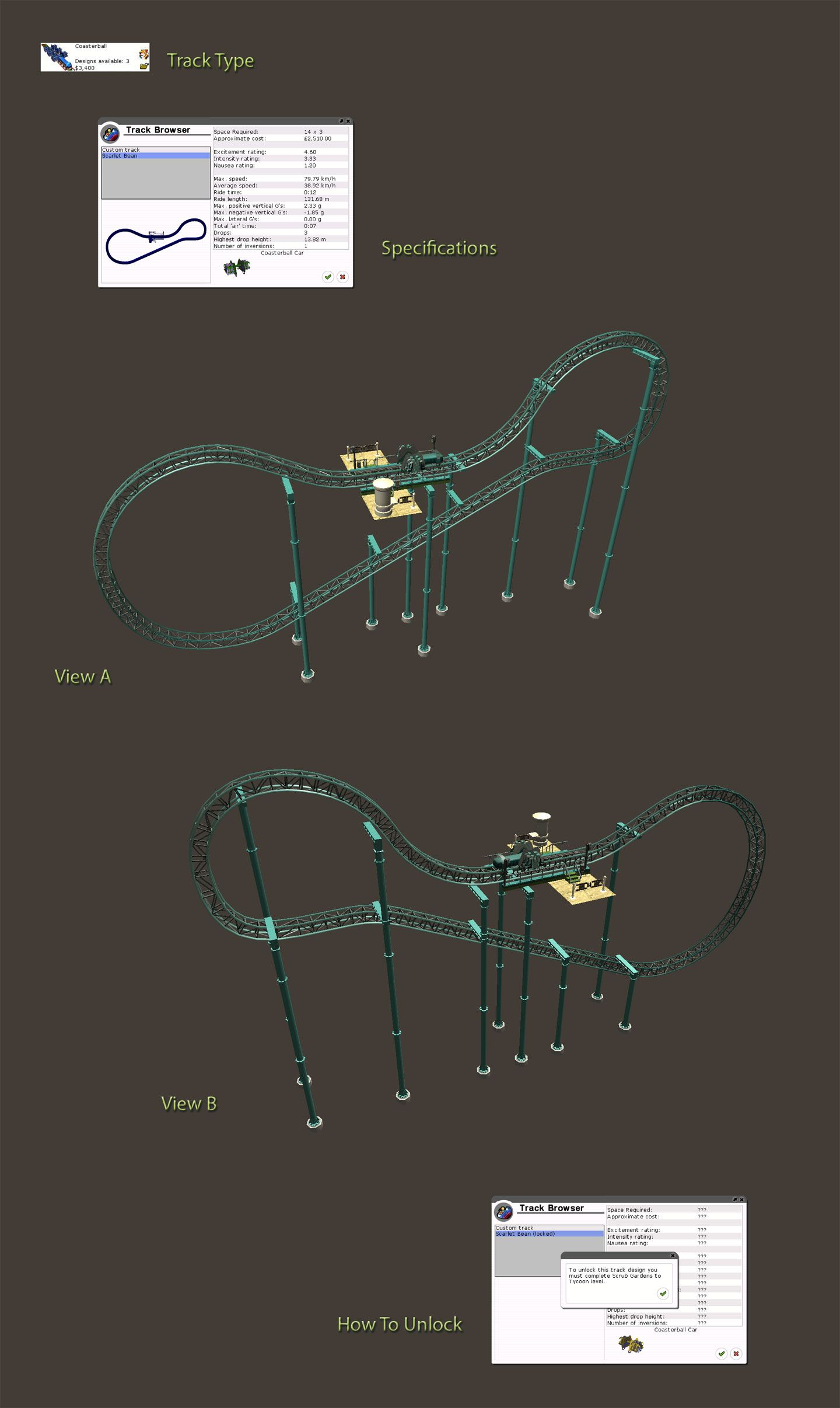 Locked Coaster Details Image for FlightToAtlantis.net: RCT3 FAQ: Campaign Scenario Directory Specifics: Scrub Gardens