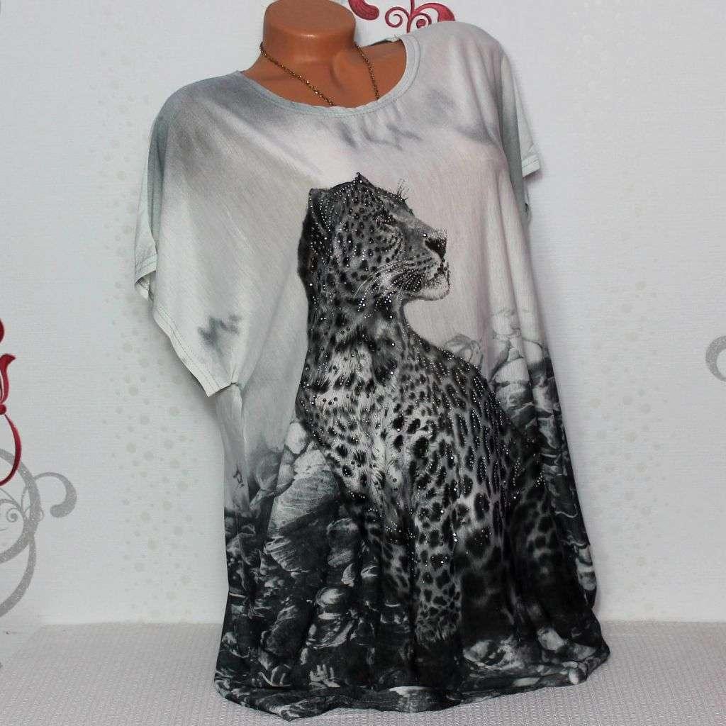 Damen T-Shirt Bluse Top Tunika Glitzer Leopard  44 46 48
