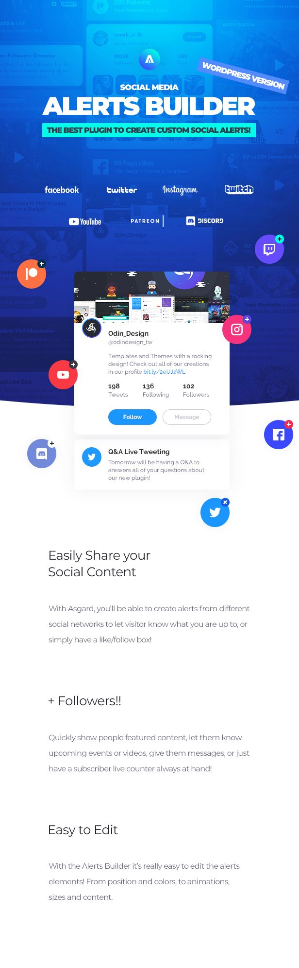 Asgard - Social Media Alerts & Feeds WordPress Builder - Facebook, Instagram, Twitch and more! - 8