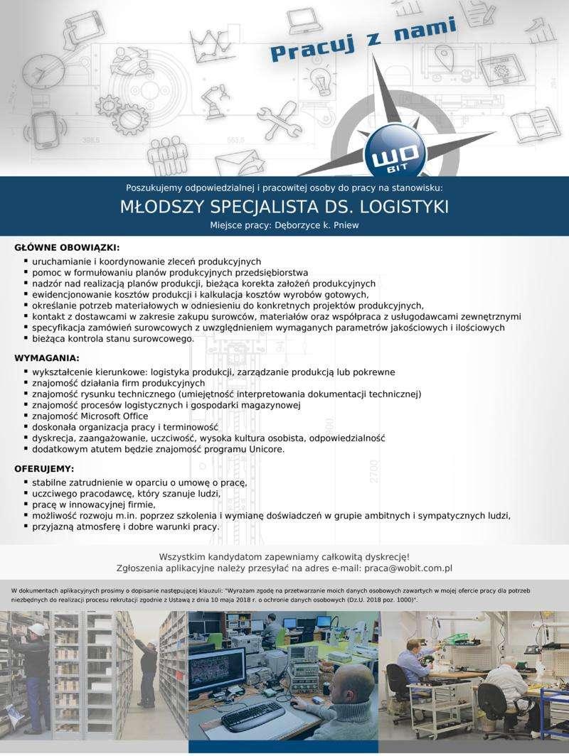 Praca dla młodszego specjalisty ds.logistyki