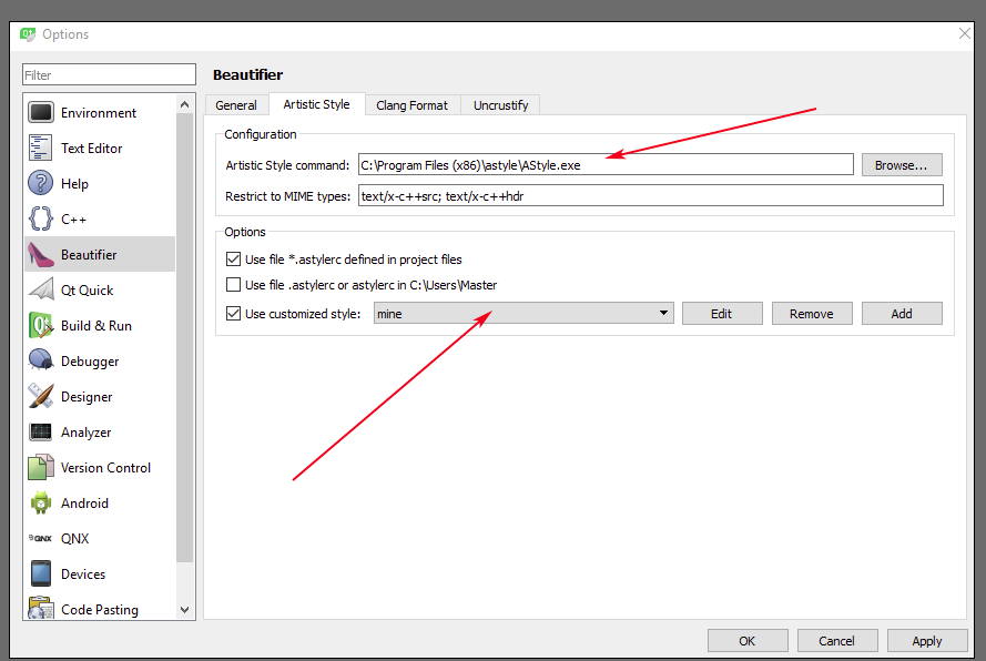 Error in Beautifier: Cannot get configuration file for