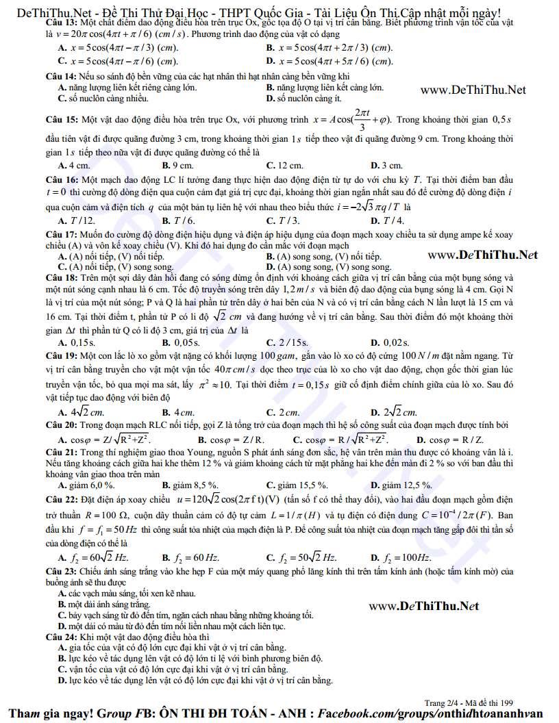 Đề thi thử THPT Quốc Gia môn Lý chuyên ĐH Vinh lần 4 năm 2015 và đáp án