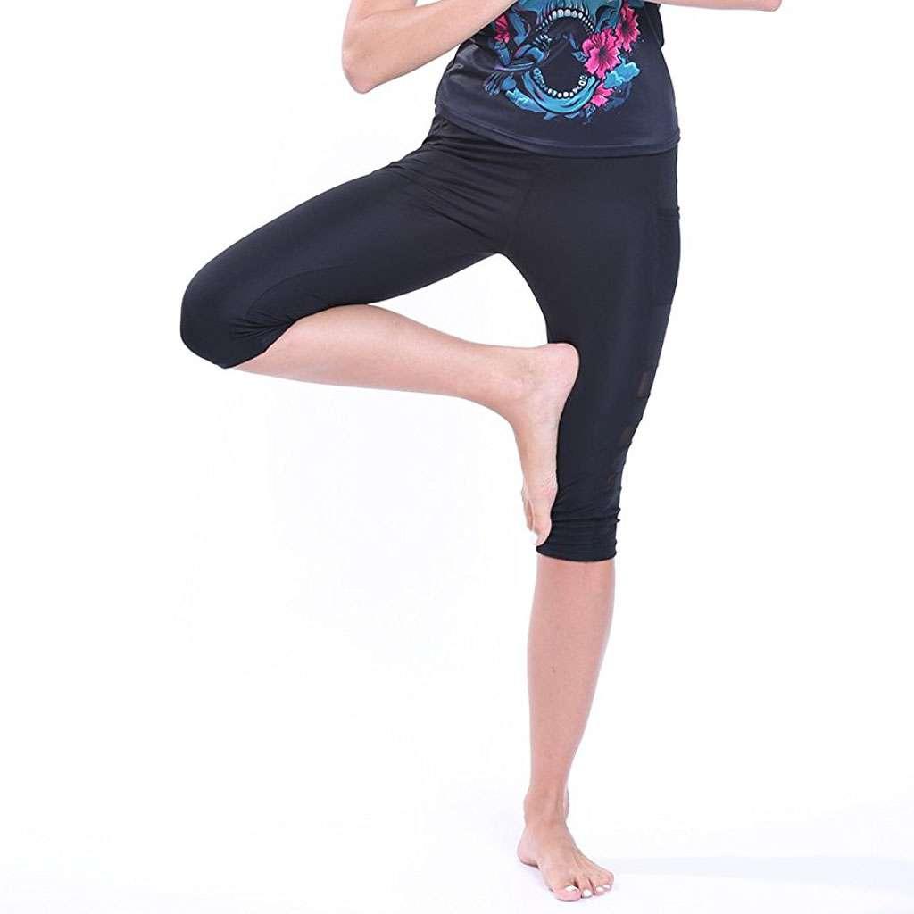 Womens High Waist Capri Yoga Pants Gym Fitness Running Exercise Cropped Leggings