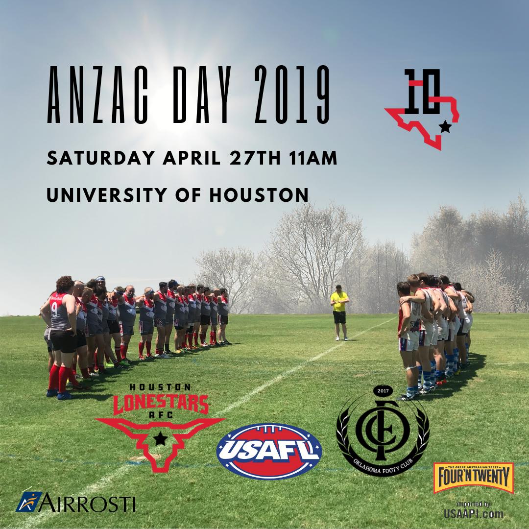 ANZAC DAY 2019   Houston Lonestars