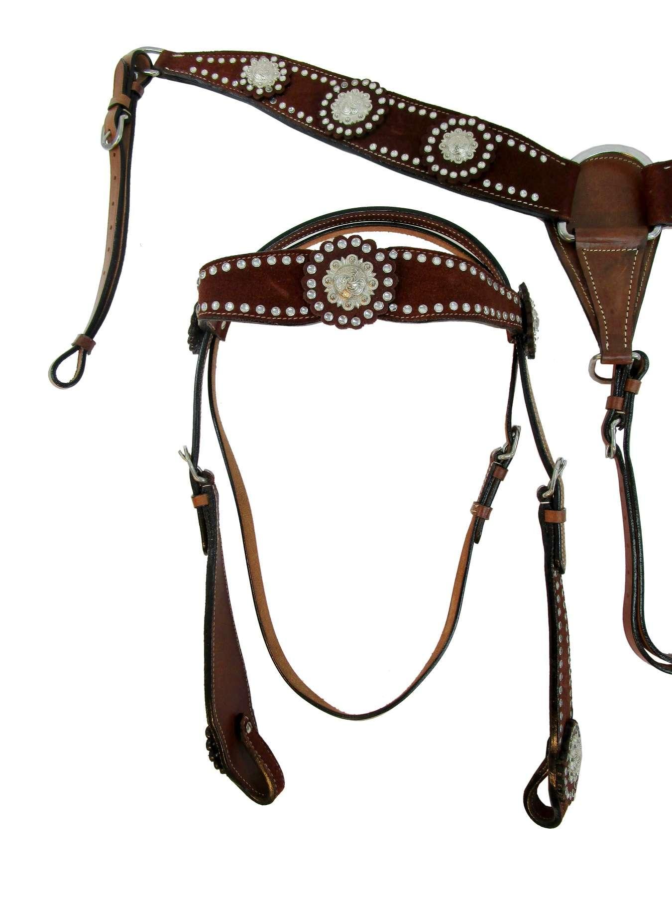 WESTERN BRIDLE HORSE HEADSTALL BREAST COLLAR BROWN LEATHER BARREL PLEASURE TRAIL