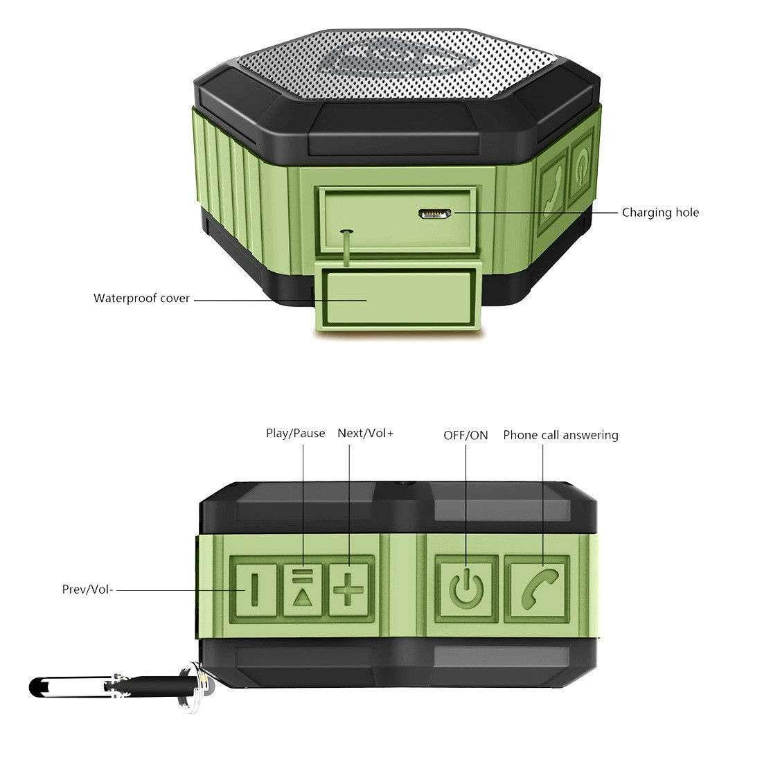 Zettaguard Plus Waterproof Bluetooth Speaker Durable Portable Outdoor Wireless