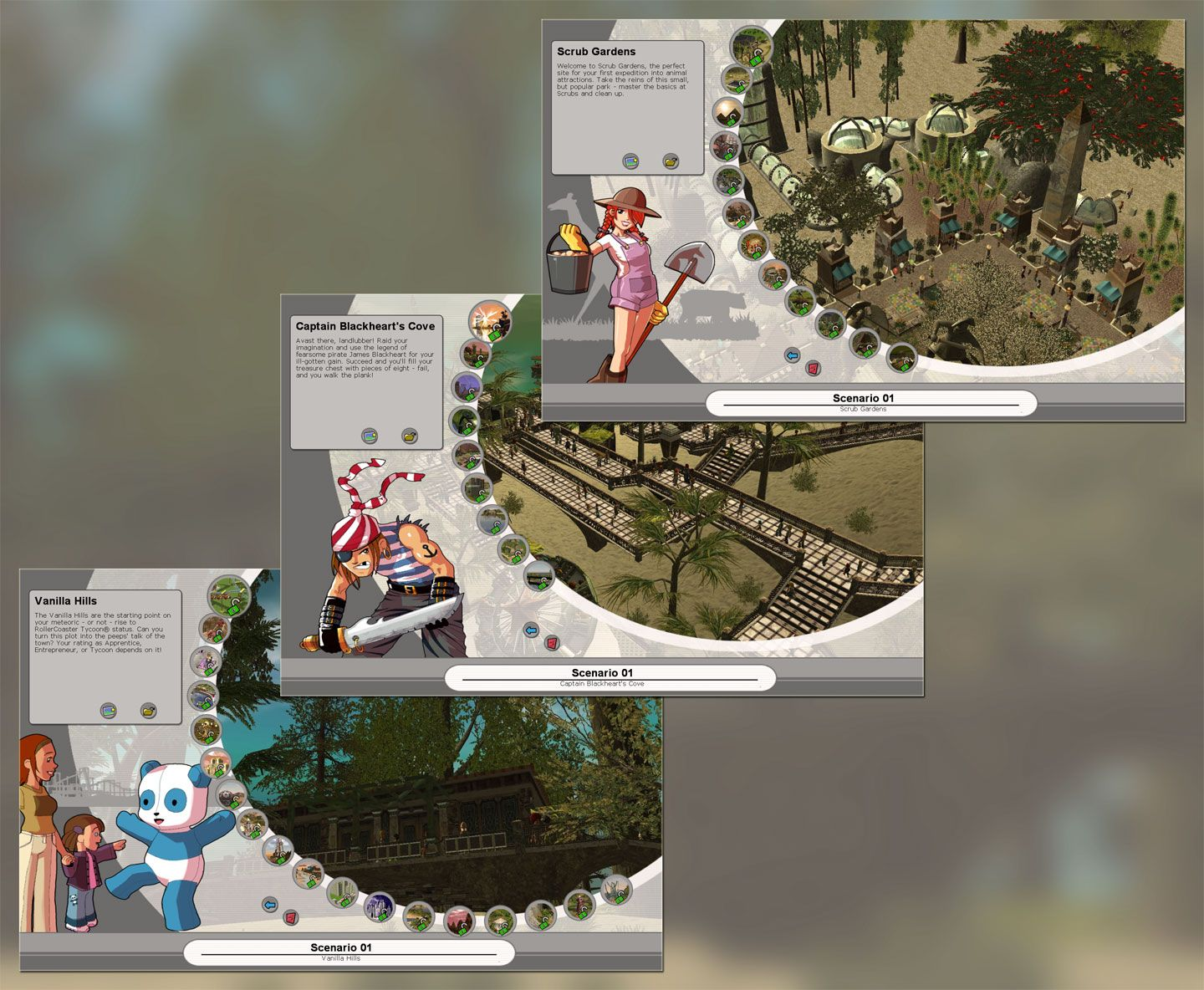 Repeat Image Displaying Campaign Expansion Headers Showing All Missions Unlocked for FlightToAtlantis.net: RCT3 FAQ: How To Unlock All Campaign Scenarios