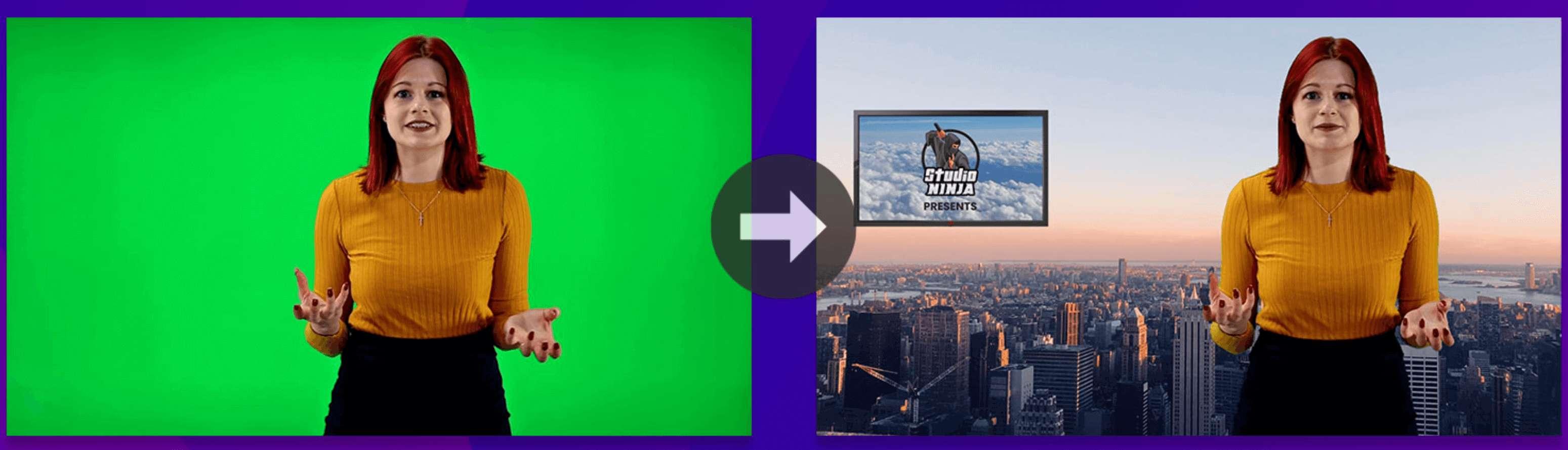 ninja studio green screen example
