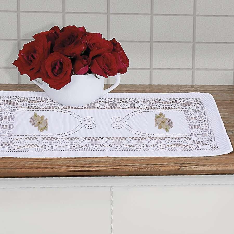 Toalha de Centro de Mesa Renda Suzi 50cm x 30cm Desenho Flor