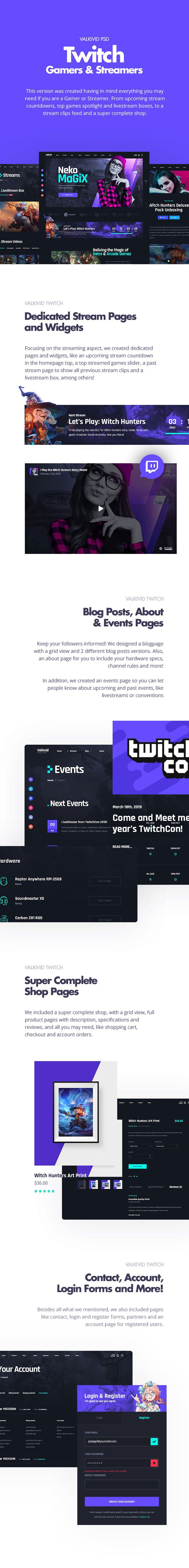 Valkivid - Streamer and Youtuber PSD Template - 11