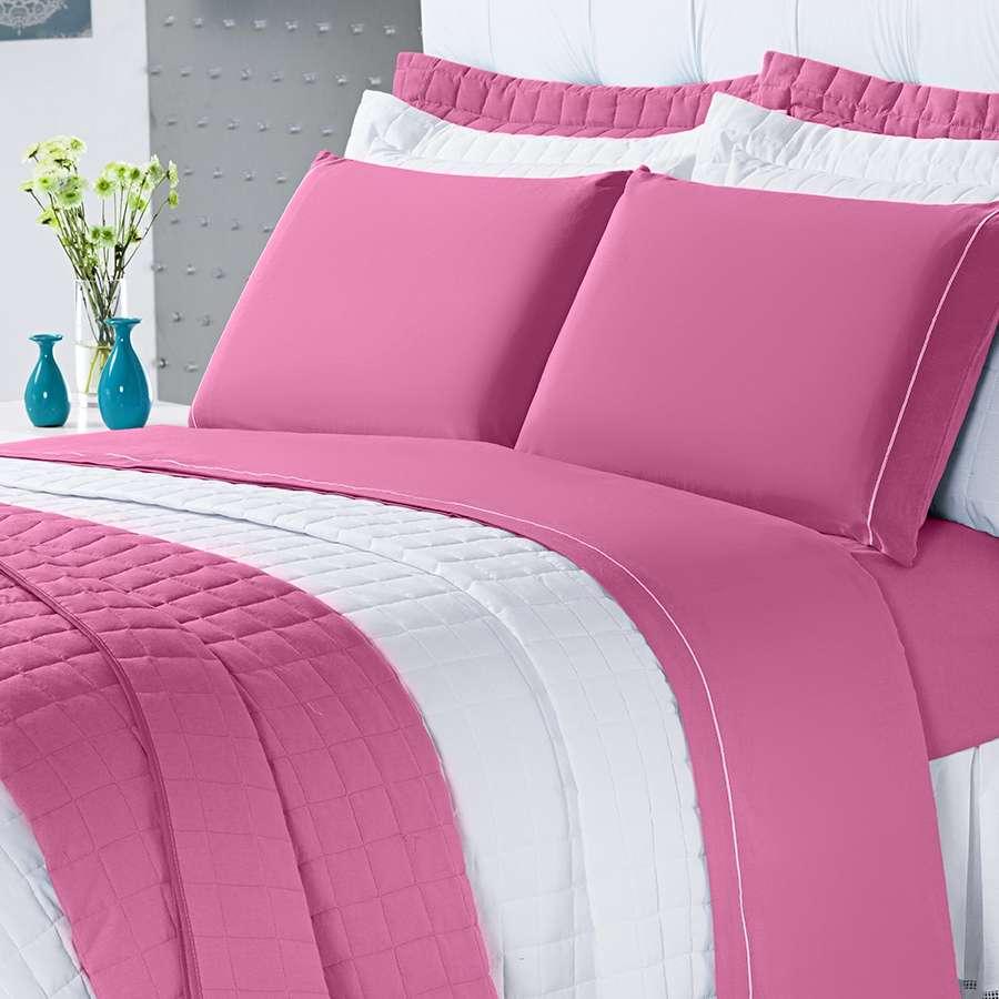 Kit Cobre Leito Montreal Casal Queen 3 Pçs 150 Fios Pink