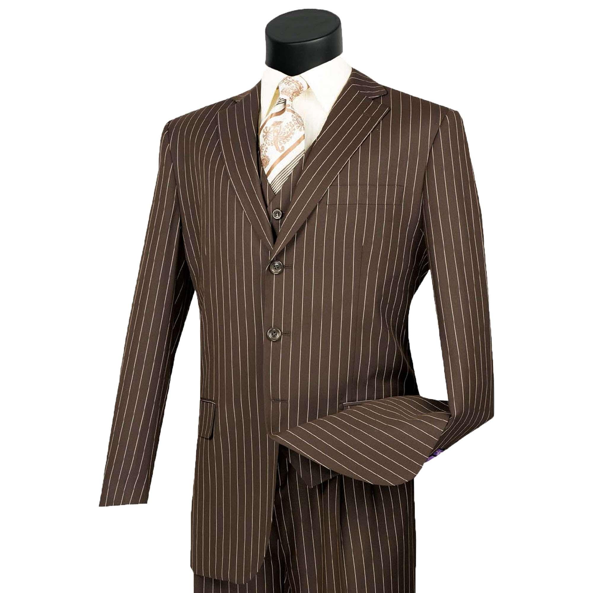 VINCI Men/'s Burgundy Gangster Stripe 3 Piece 2 Button Classic Fit Suit NEW