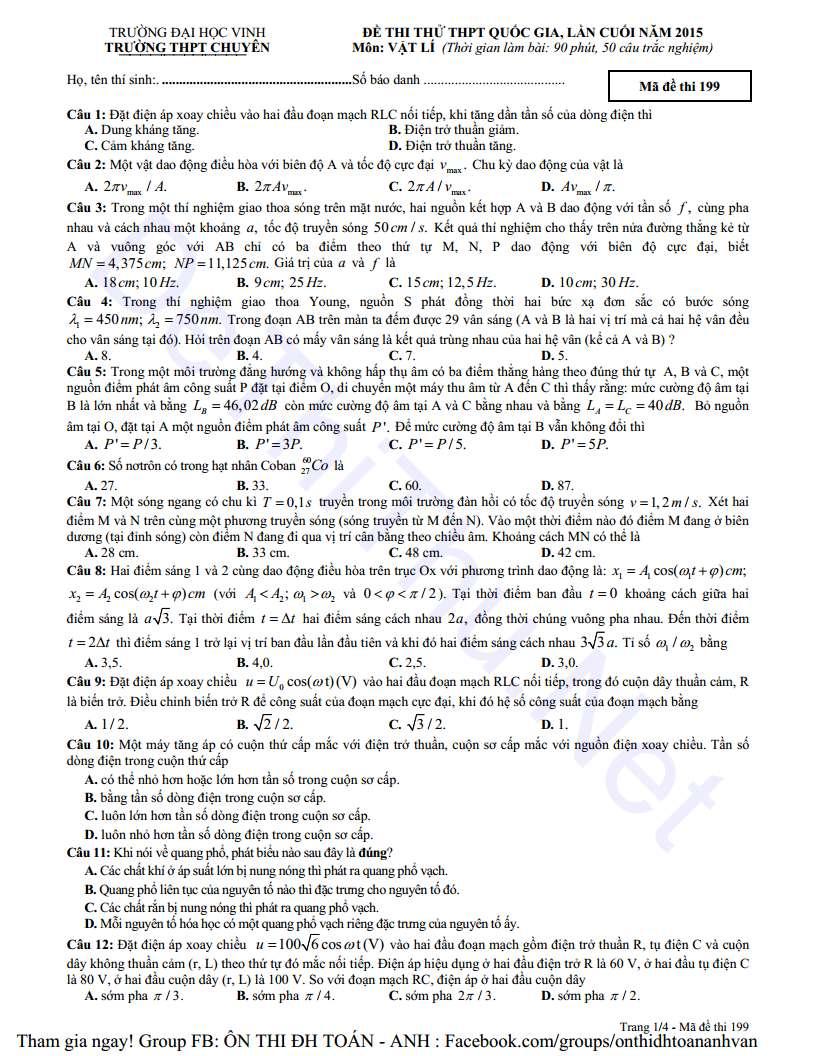 Câu 1 đến 12 đề thi Lý chuyên Vinh lần 4 năm 2015