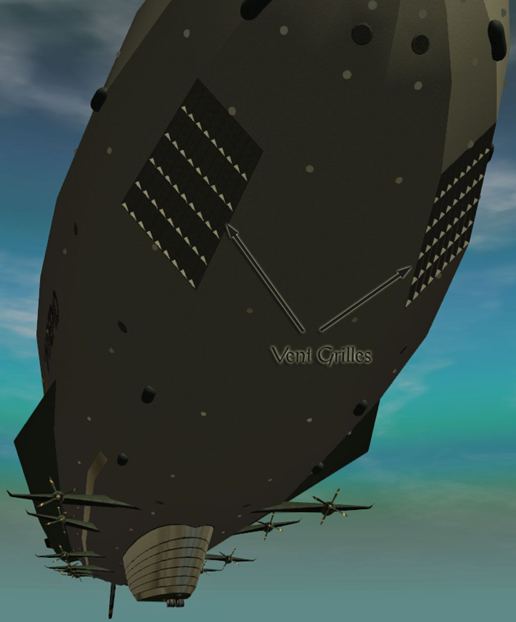 My Adventures In SketchUp - Intrepid: A Revolution In Design - A Close-Up RCT3 Screenshot Showing Nearly All Of Intrepid, Displaying Both Intrepid's Vent Grilles In The Foreground. The Viewer Is Somewhat Below Fore Starboard Looking Aft.