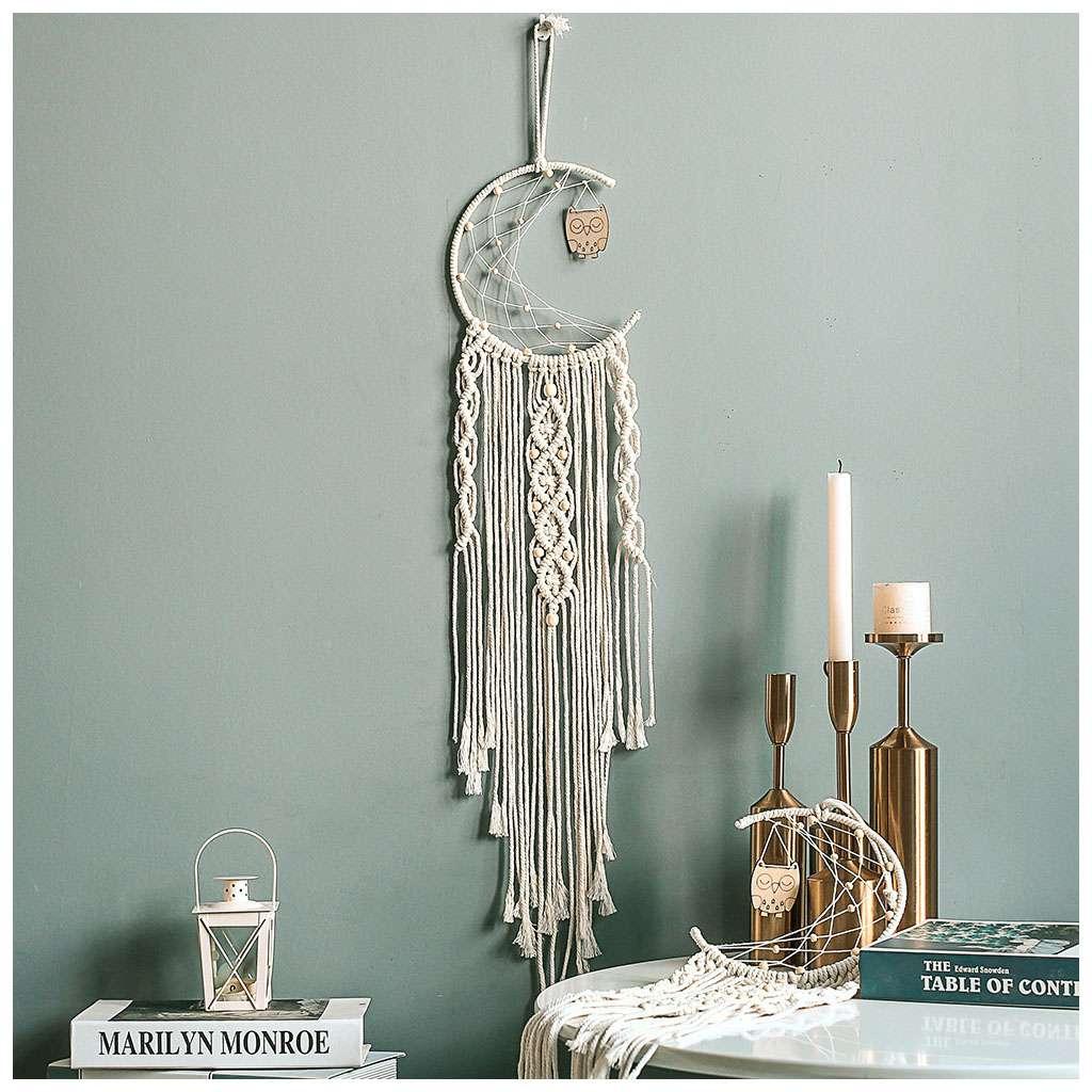Us Macrame Woven Wall Hanging Tapestry Boho Chic Bohemian Home Art Decor Moon