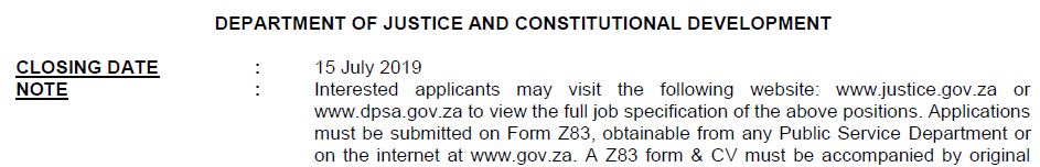 Justice and Constitutional Development Circular 23 Of 2019