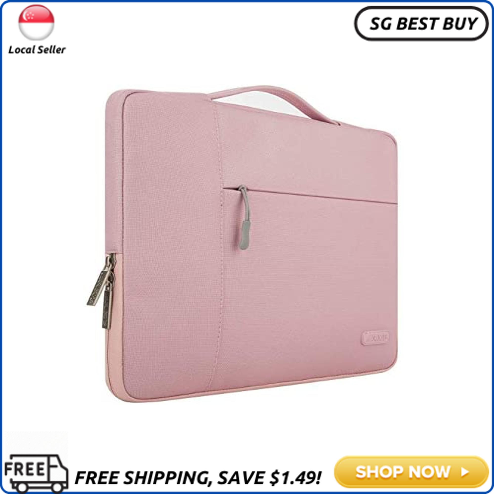 (SG SELLER) MOSISO Laptop Sleeve Compatible with 2019 2018 MacBook Air 13 inch A1932,13 inch MacBook Pro A2159 A1989 A1706 A1708,Polyester Multifunctional Briefcase Handbag Carrying Case Cover Bag, Pink