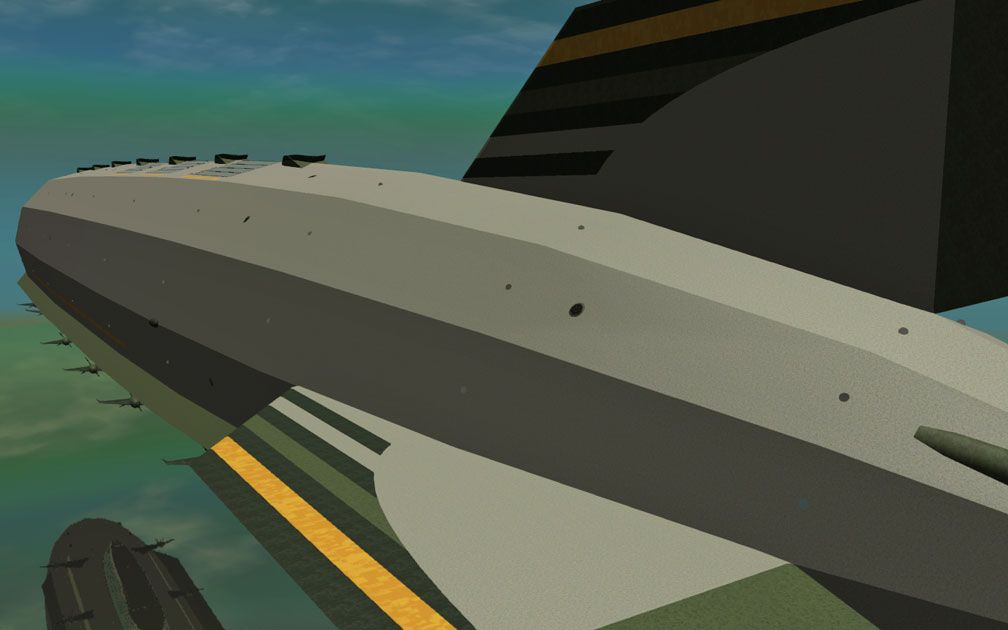 My Adventures In SketchUp - Intrepid: A Revolution In Design - A Close-Up RCT3 Screenshot Showing Most Of Intrepid, With The Rear Stabiliser Fins Taking Up Much Of The Foreground. The Viewer Is Slightly Above Port Aft Looking Fore.