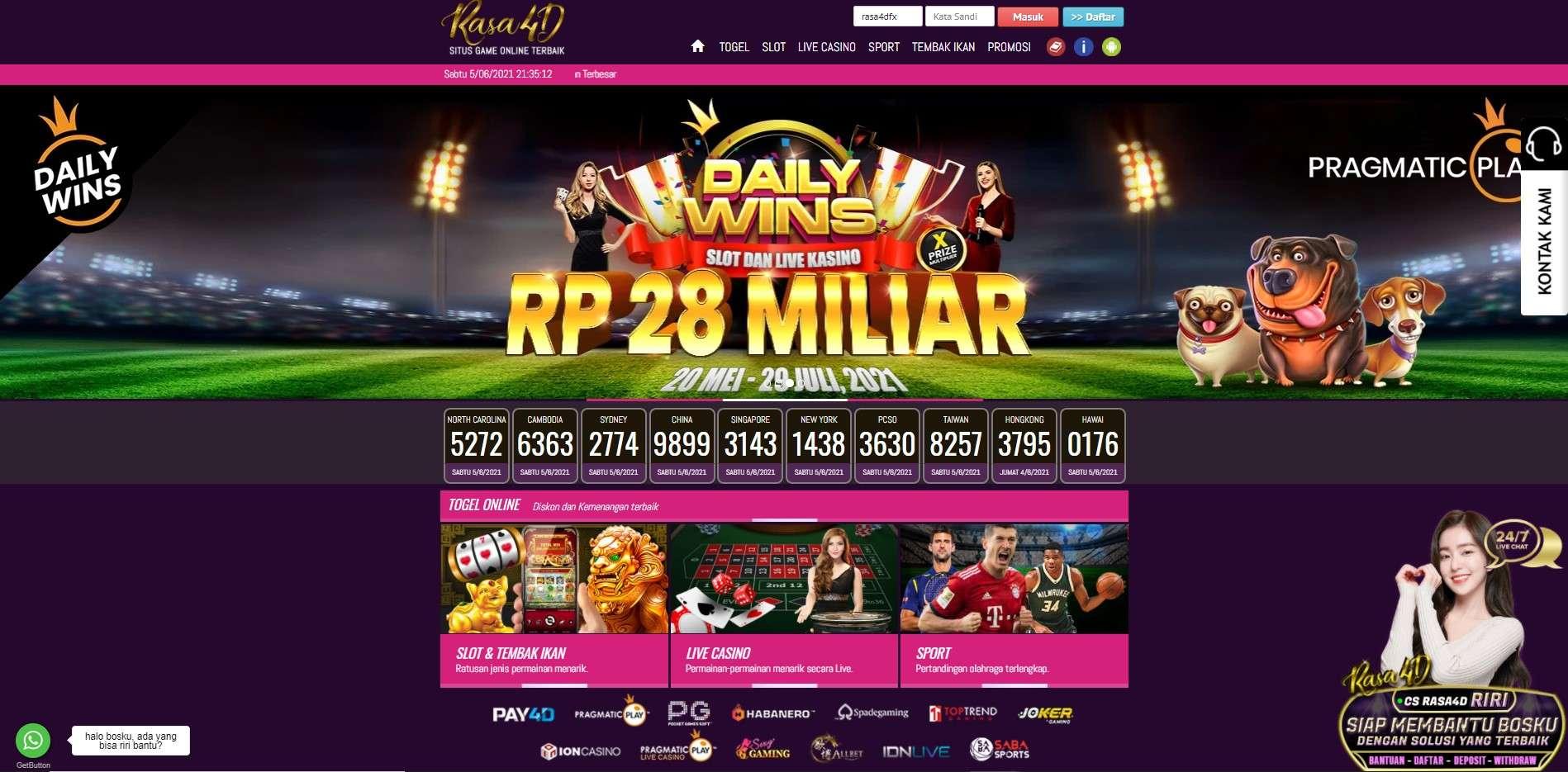 Judi Togel Online & Slot Online Deposit Pulsa Tanpa Potongan RASA4D