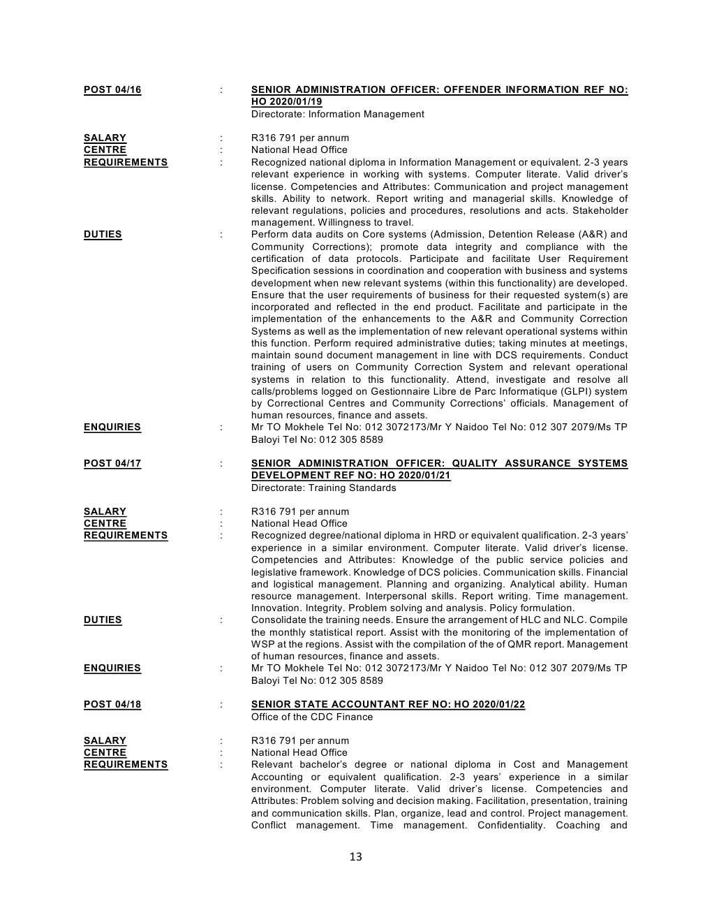 Correctional Services Circular 4 Of 2020 - DPSA Circular