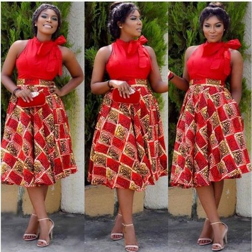 African fashion ,Ankara Dress ,Red style