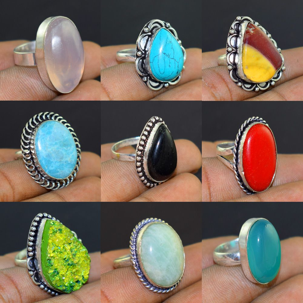 Malachite /& Mix Gemstone Exclusive Design Imition Gold Plated Wholesale Lot Ring