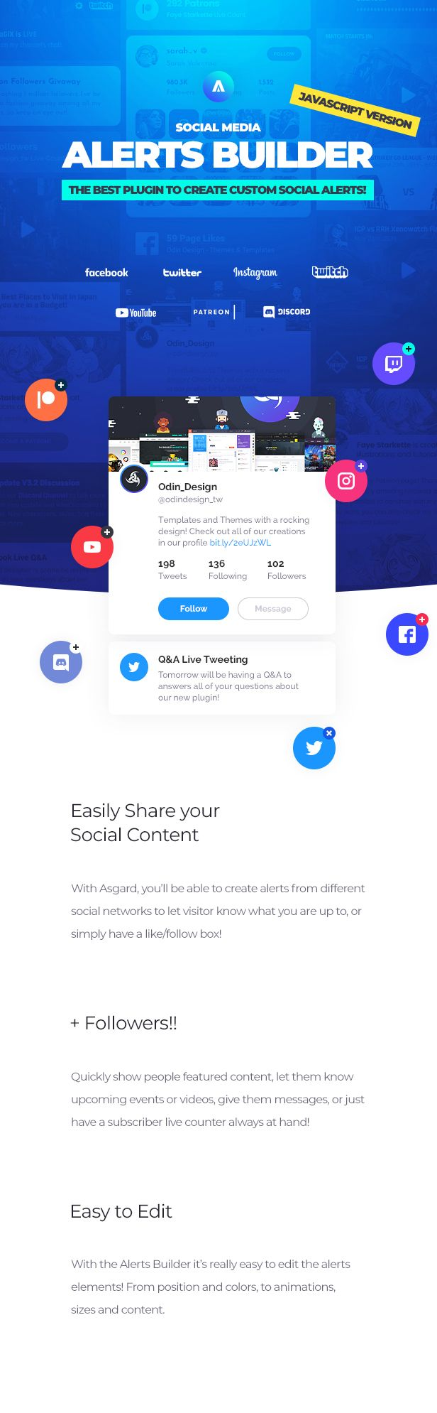 Asgard - Social Media Alerts & Feeds Javascript Builder - Facebook, Instagram, Twitch and more! - 10