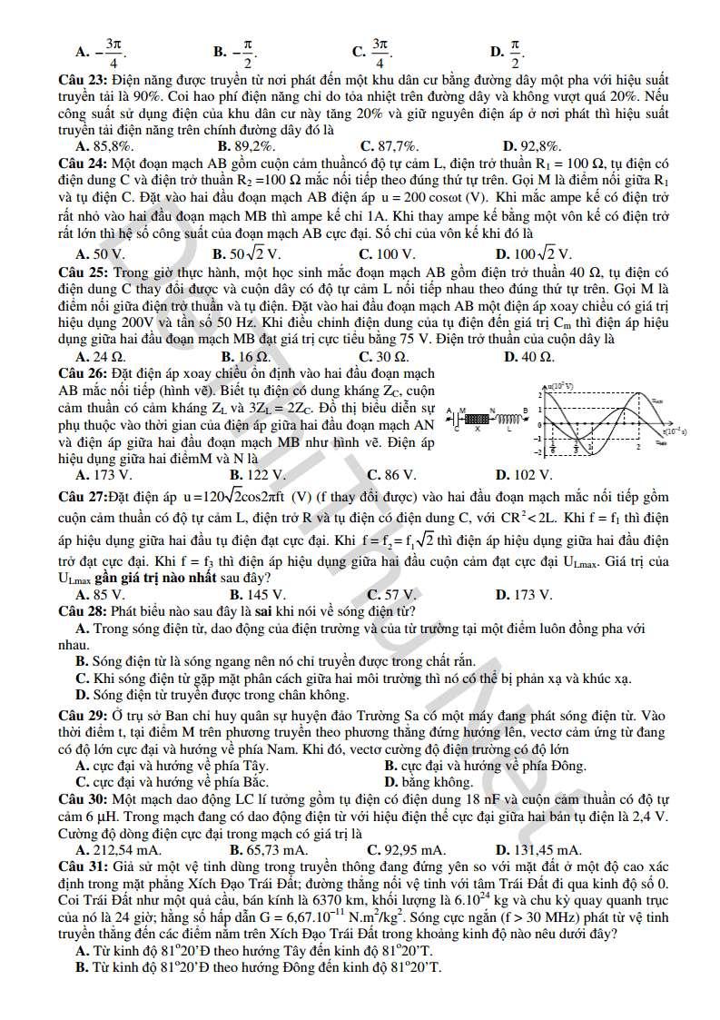 Đề mẫu môn Vật Lý THPT Quốc Gia 2015 kèm đáp án của Bộ GD & ĐT