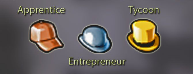 Image Displaying Apprentice Icon, Entrepreneur Icon, and Tycoon Icon for FlightToAtlantis.net: RCT3 FAQ: How To Unlock All Campaign Scenarios