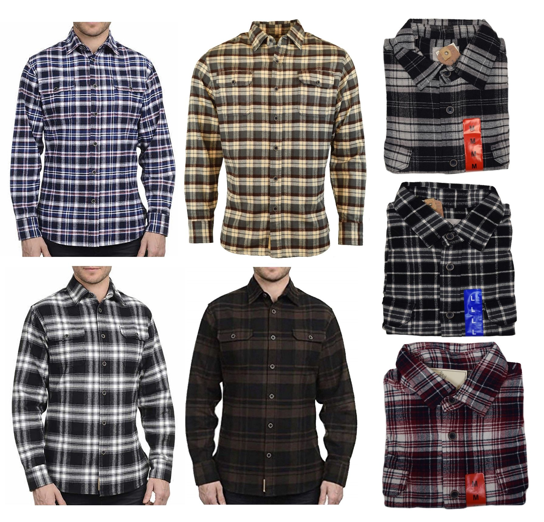 Jachs Men's Brawny Long Sleeve Cotton Flannel Shirt