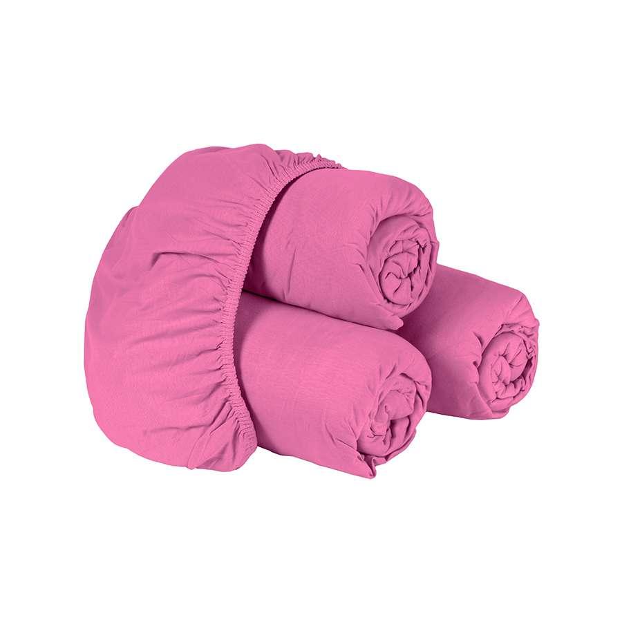 Lençol de Elástico Solteiro 1 Peça Montreal 150 Fios Pink