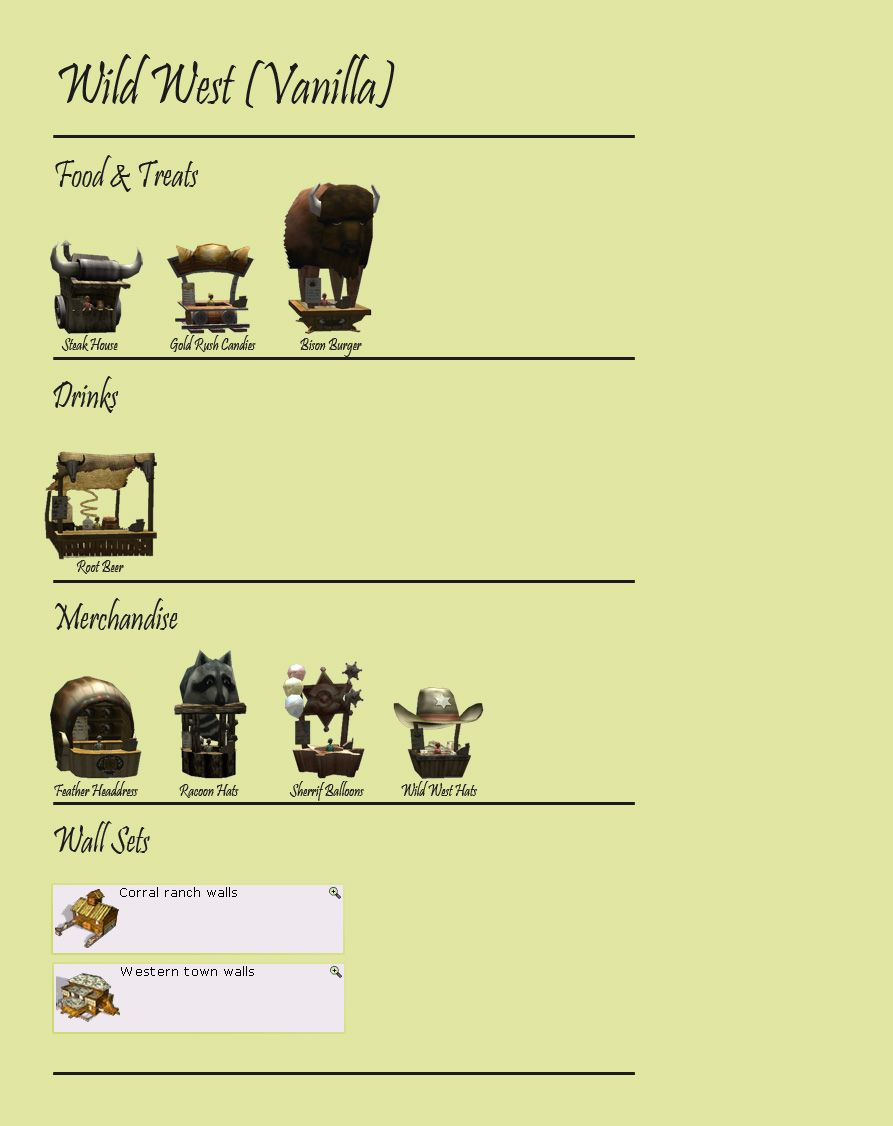 Display Image 02: Wild West Themed Stalls, Facilities, And Wall Sets, RCT3 FAQ, Theming Our Stalls & Facilities, Page 1