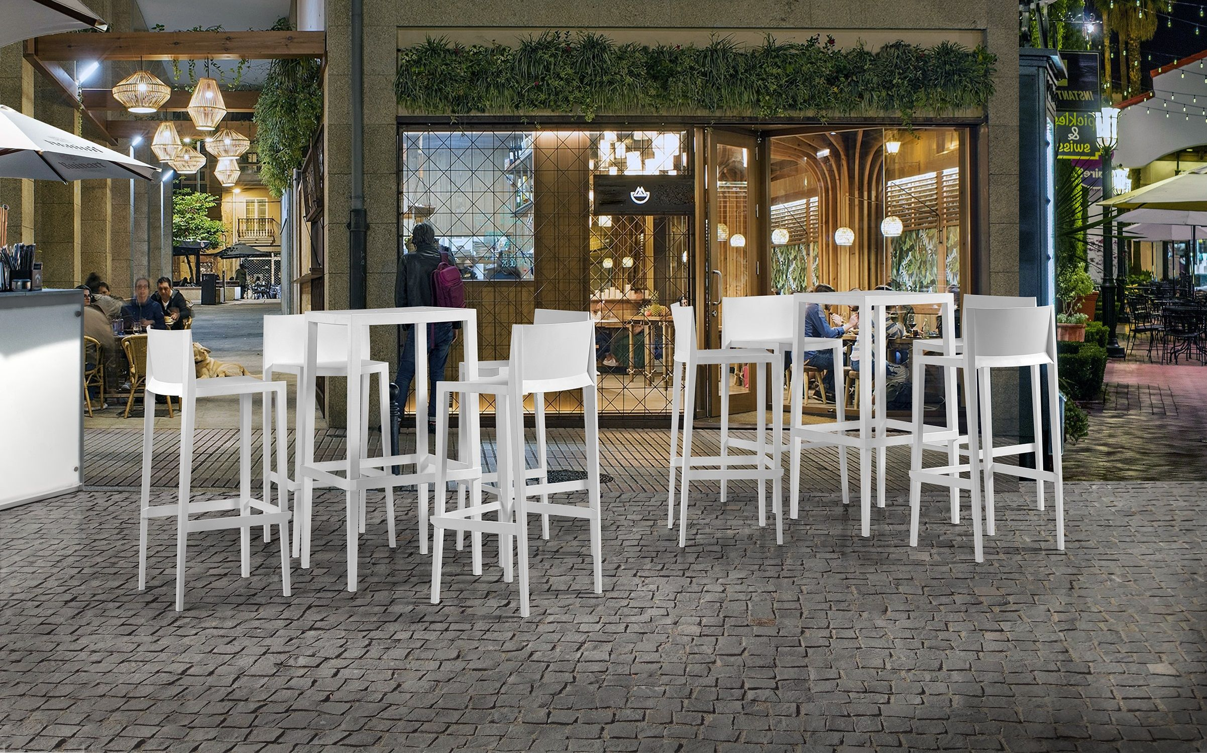 Set 4 Sedie Alte Sgabello Sunset da Giardino Cucina Bar