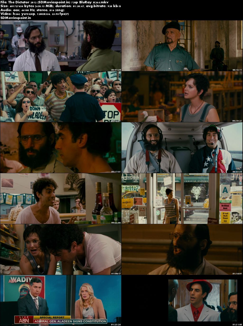 Screen Shots The Dictator 2012 Full HD Movie Download English Free