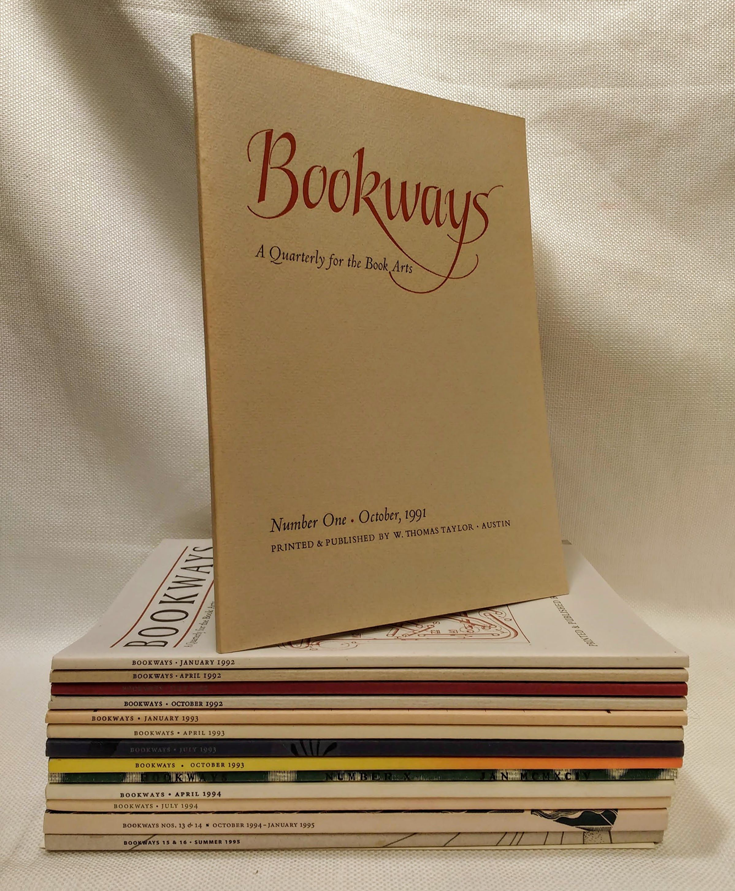 BOOKWAYS: A Quarterly for the Book Arts (complete run in 16 issues), Taylor, Tom [editor / publisher]; Prewett, Anita [managing editor]