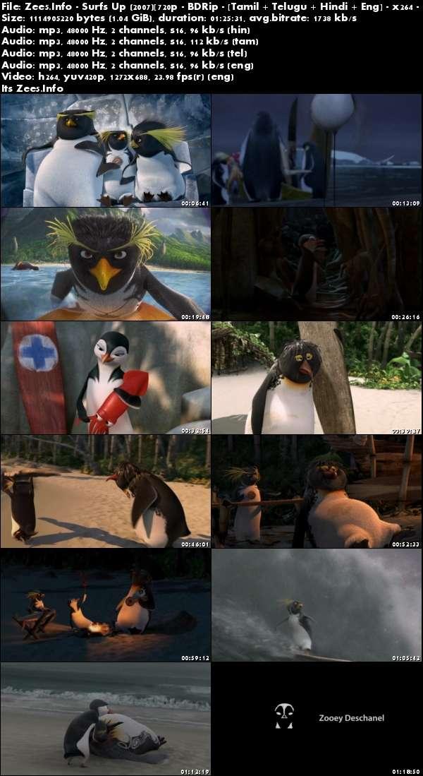 Surfs Up 2007 720p BRRip Hindi Tamil Telugu Eng Movie Download