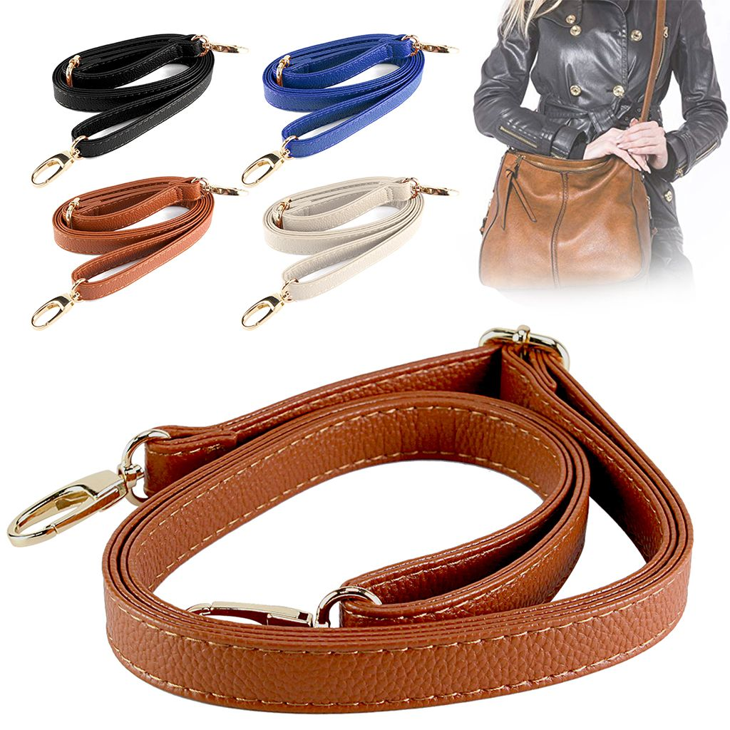 Adjustable PU Leather Crossbody Shoulder Bag Strap Handle Replacement Black