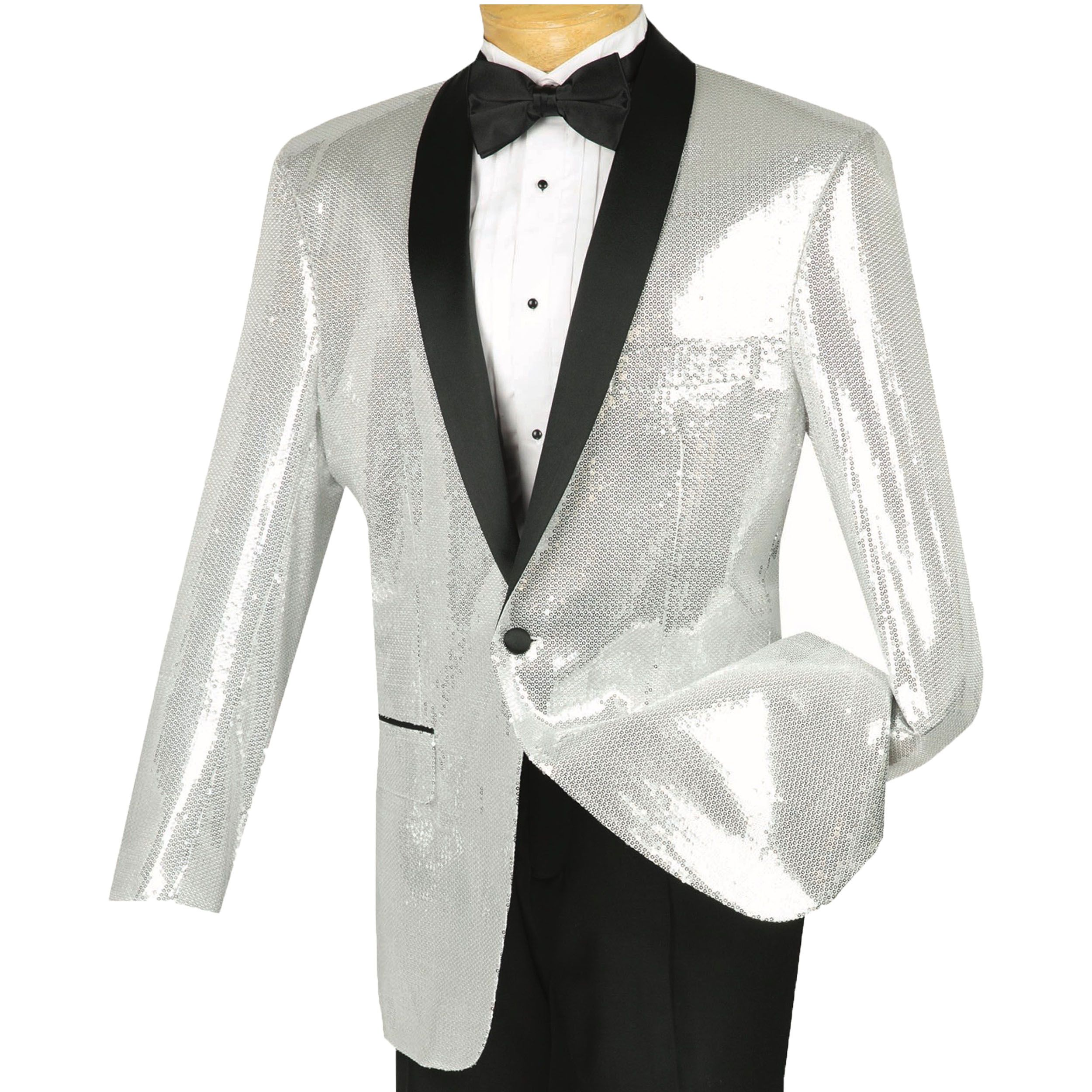 VINCI Men/'s Gold Sequins 1 Button Shawl Collar Sport Jacket Blazer NEW