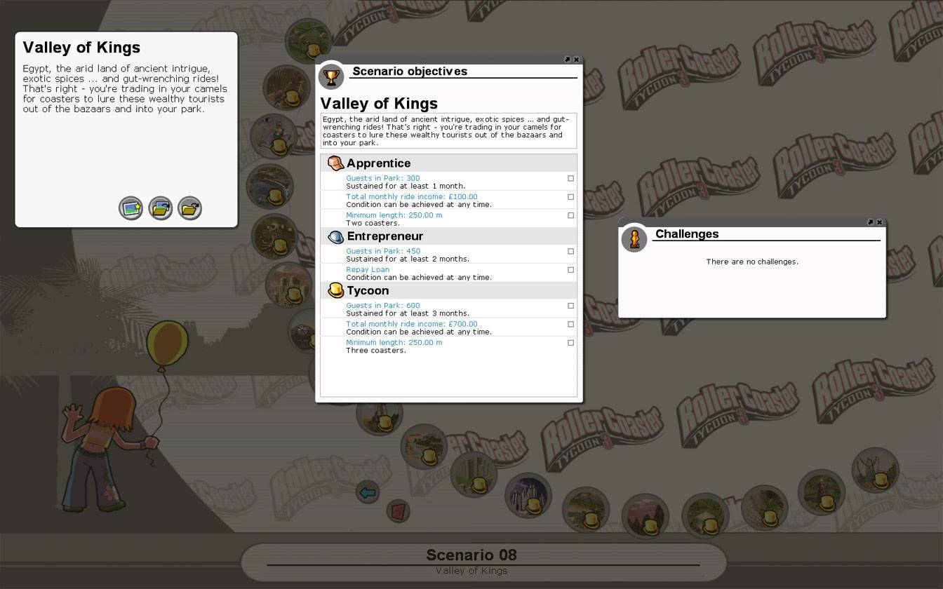 Scenario Information Image for FlightToAtlantis.net: RCT3 FAQ: Campaign Scenario Directory Specifics: Valley Of Kings