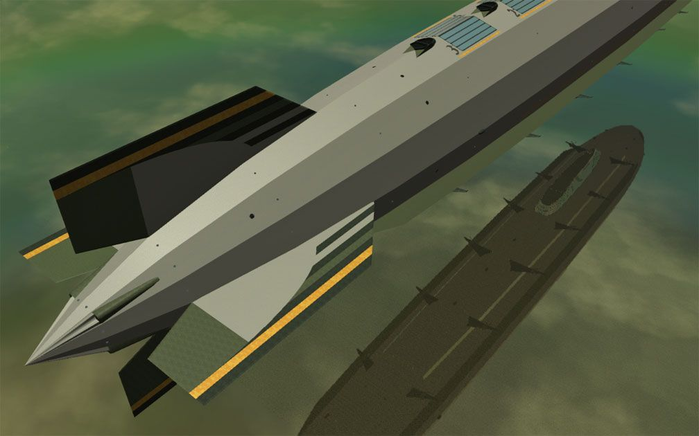 My Adventures In SketchUp - Intrepid: A Revolution In Design - A Distant RCT3 Screenshot Showing The Rear Half Of Intrepid Displaying All Four Of Intrepid's Rear Stabiliser Fins And Their Positioning In Relation To Hangar Three. The Viewer Is High Above Aft Starboard Looking Diagonally Fore.