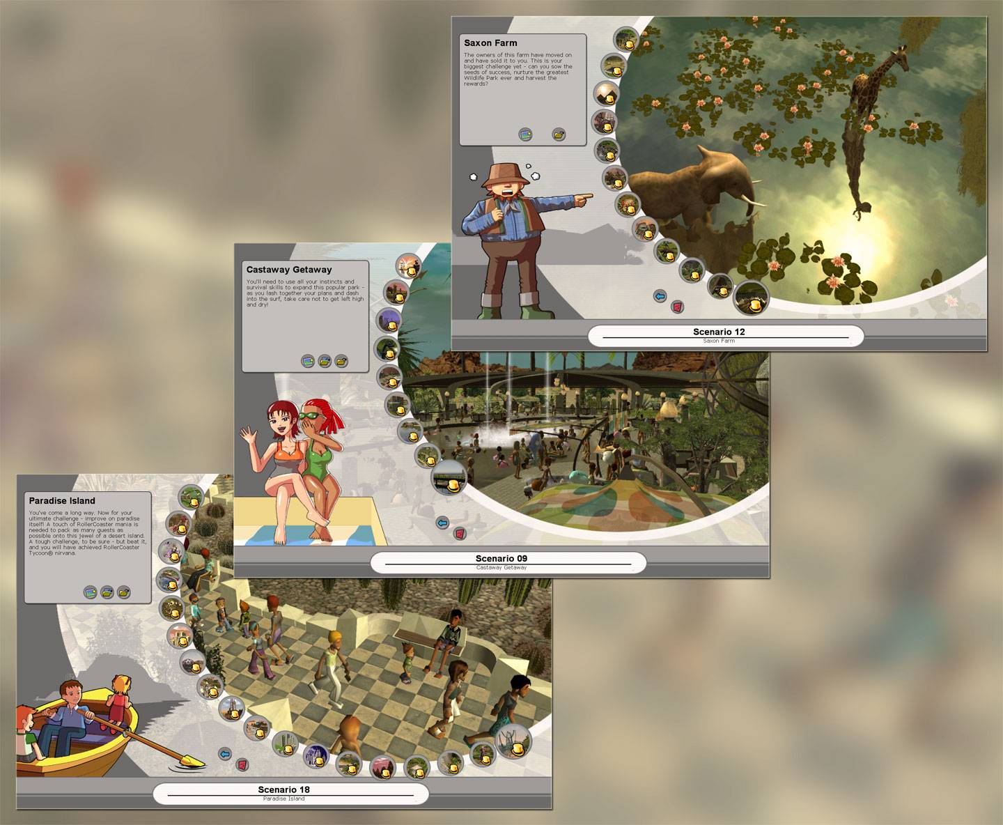 Image Displaying Campaign Expansion Headers Showing Tycoon Status Earned In All Missions for FlightToAtlantis.net: RCT3 FAQ: How To Unlock All Campaign Scenarios
