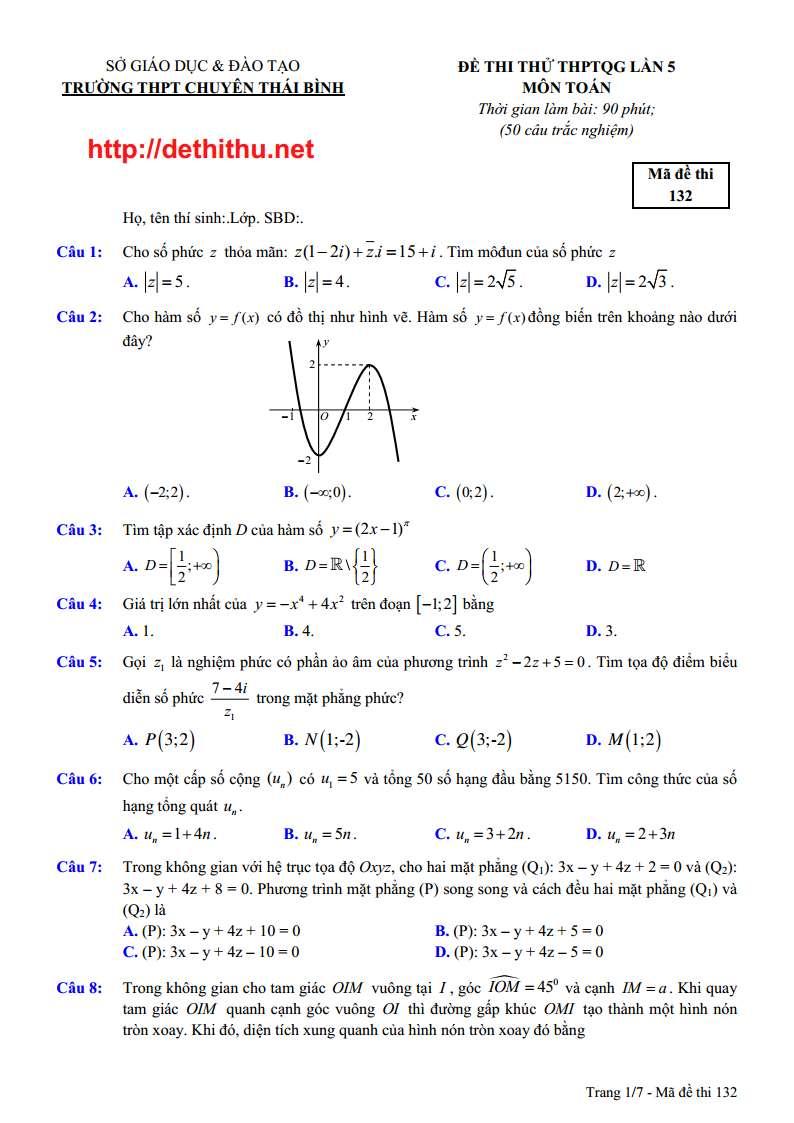 Đề thi thử môn toán năm 2018 trường THPT chuyên Thái Bình lần 5 có đáp án