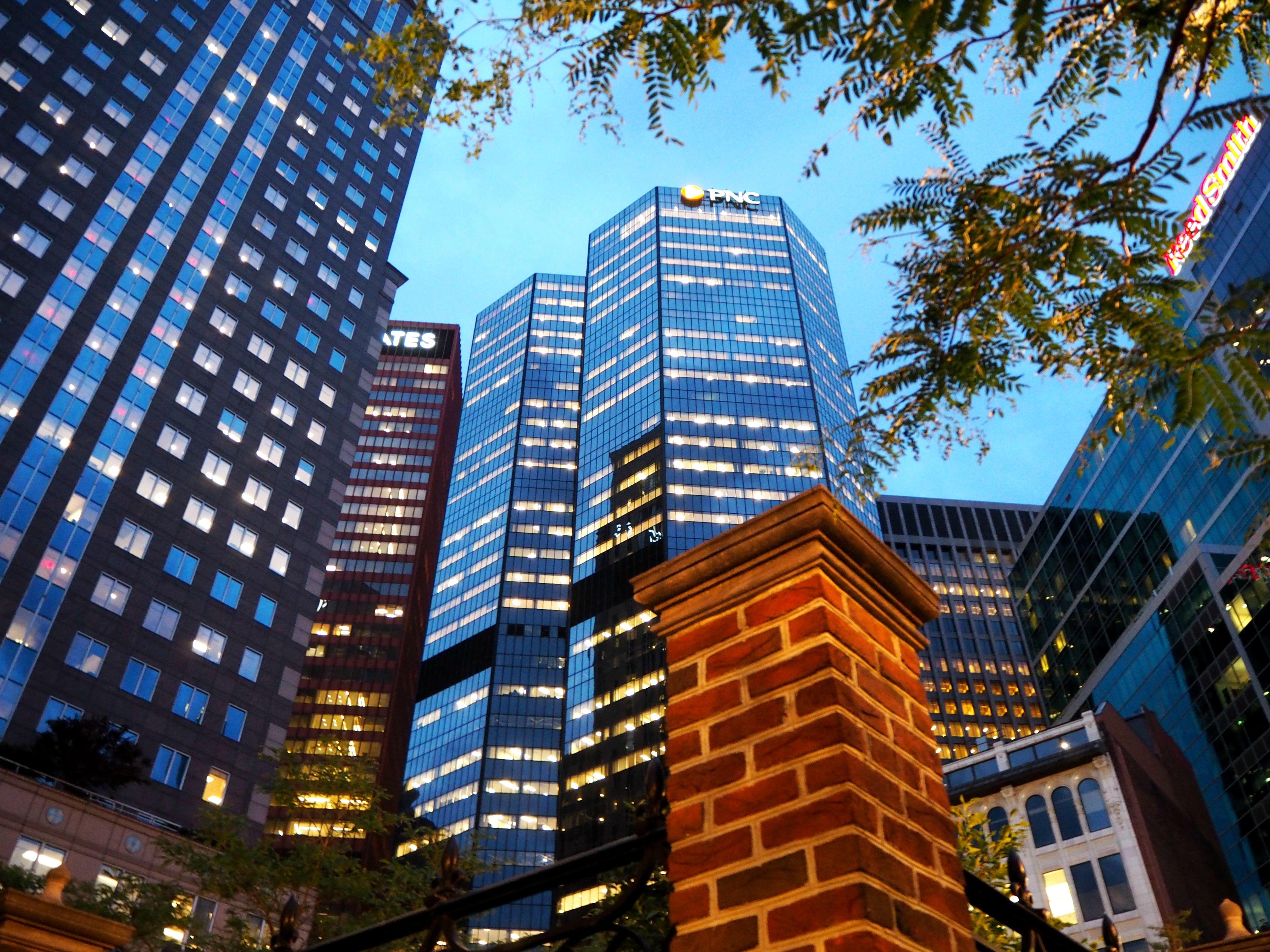 A famous feature of the Pittsburgh skyline is the PNC building