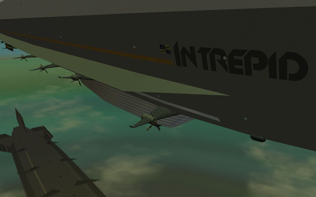 My Adventures In SketchUp - Intrepid: A Revolution In Design - A Close-Up RCT3 Screenshot Displaying Intrepid's Branding Along With Side Stabiliser Fin And Cyclone Prop Engines, The Viewer Is Alongside And Looking Aft Down The Starboard Side.