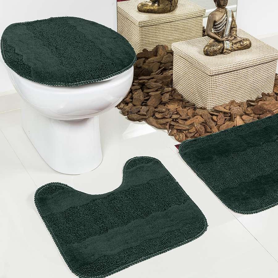 Jogo de Banheiro Esmeralda 3 Peças Verde Musgo