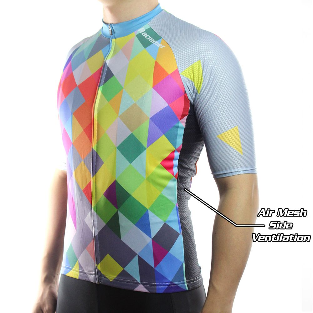 Racmmer Cycling Jersey Short Sleeves Unique Prism Shirt Design Colorful Cycling