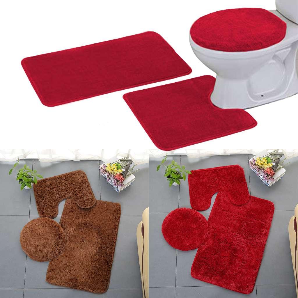 3-Piece Red Bath Mat Set Bathmat Contour Lid Cover Bathroom Soft Machine Wash