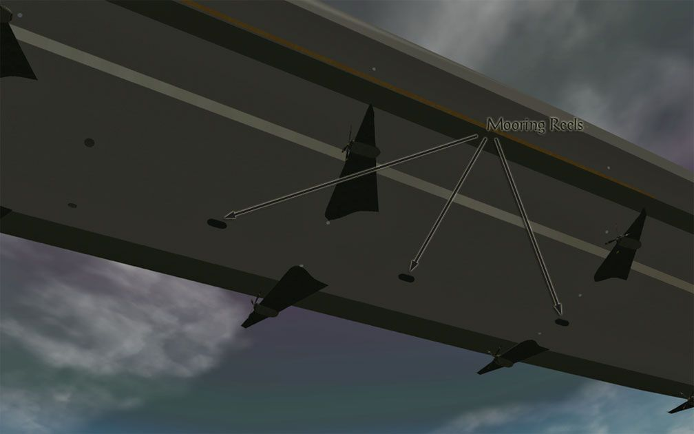 My Adventures In SketchUp - Intrepid: A Revolution In Design - A Close-Up RCT3 Screenshot Showing Intrepid's Three Centred Mooring Reels Bottom Amidships. The Viewer Is Below Port Amidships Looking Starboard.