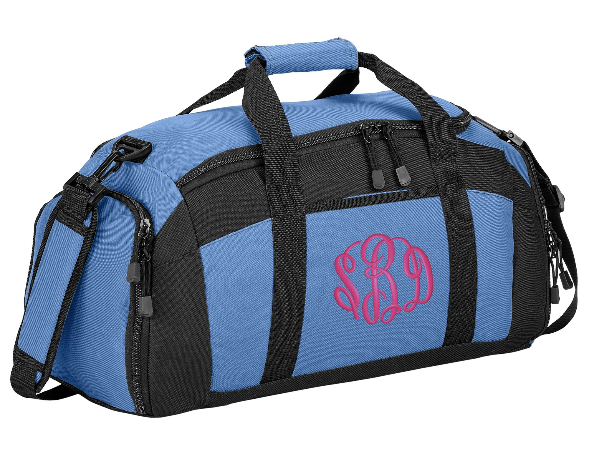 Personalized Hockey Medium Gym Duffel Bag with Custom Text Black//Black Active Sports Bag with Customizable Embroidered Monogram Design