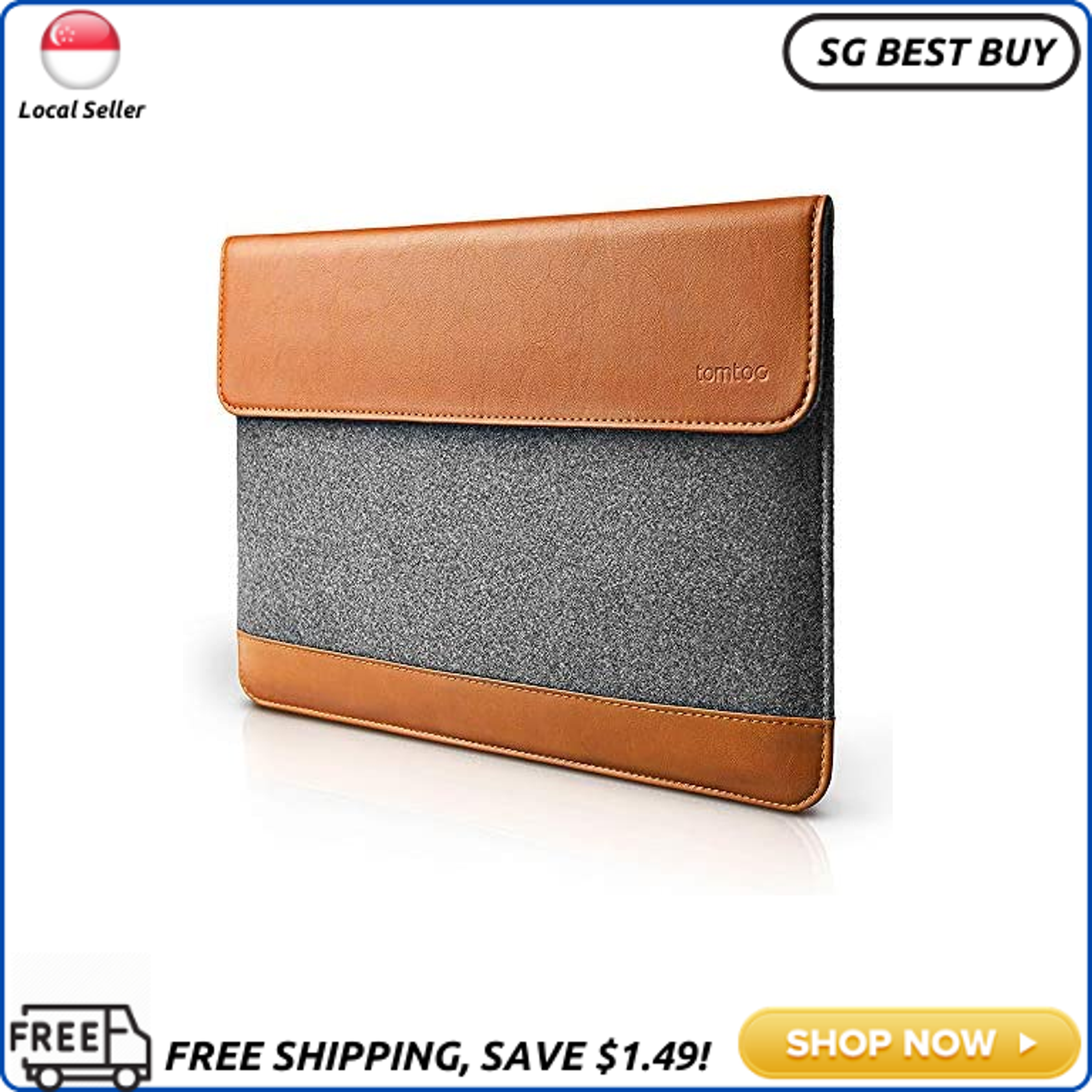(SG SELLER) tomtoc Slim Laptop Sleeve for 15 Inch New MacBook Pro with Touch Bar Late 2016-2019 A1990 A1707, Felt & PU Leather Protective Case Cover Bag with Accessory Pocket